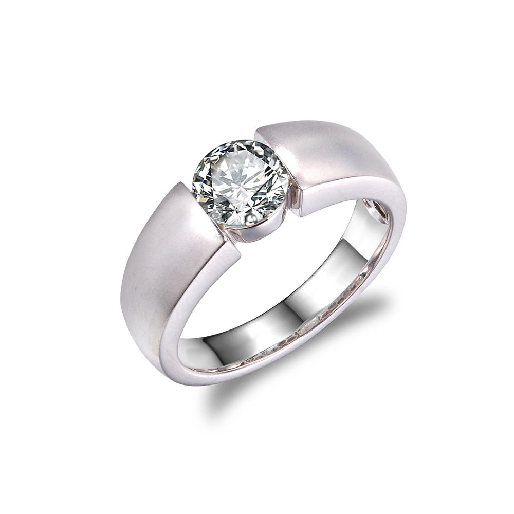 18K白金30分50分1克拉钻石戒指结婚戒指