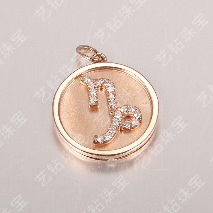 艺钻珠宝18k金吊坠钻石圆形磨砂吊坠