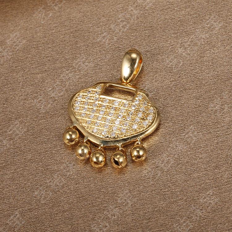 艺钻珠宝18k金如意金锁吊坠如意钻石群镶吊坠