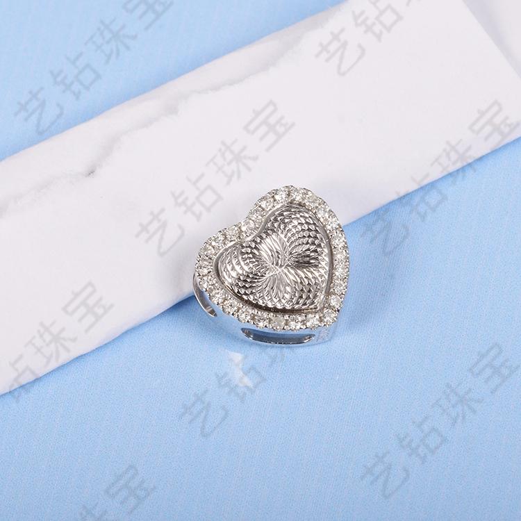 艺钻珠宝18K白金玫瑰金心形雕刻心形吊坠心形钻石吊坠项链