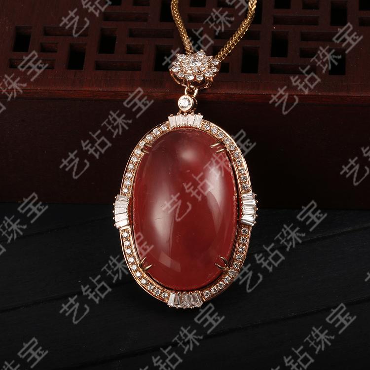 艺钻珠宝18K金钻石镶嵌天然南红玛瑙吊坠