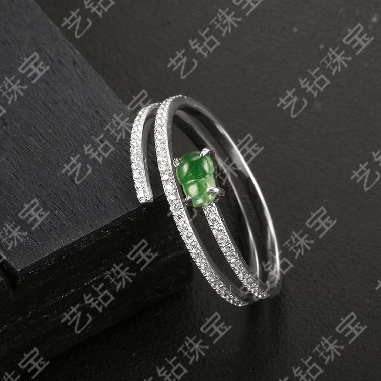 艺钻珠宝18k白金镶钻冰种翡翠葫芦戒指